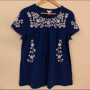🌼Blouse Sale🌼 White Blue Embroidery T-Shirt
